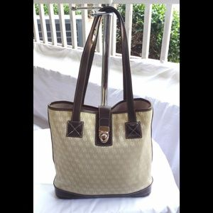 Dooney and Bourke Logo Shoppers Bucket Tote